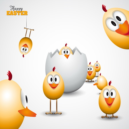 Funny Easter eggs chicks - background illustration - Happy easter card Çizim