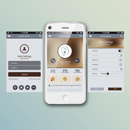 Mobile application interface concept. Vector Illustration, eps10