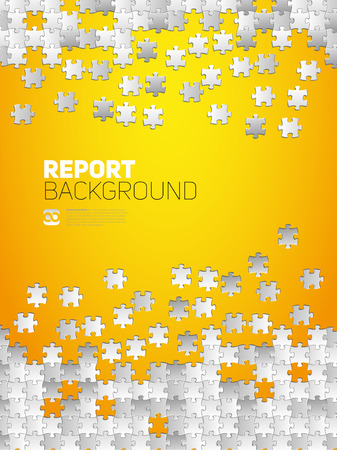 Vector Abstract background for Report, made from puzzle pieces and place for your content  イラスト・ベクター素材
