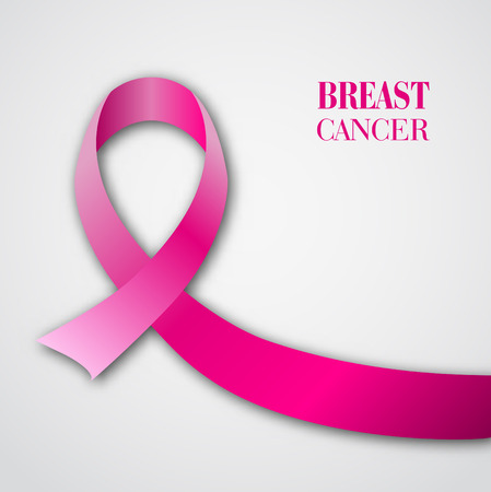 Breast cancer awareness pink ribbon on white background