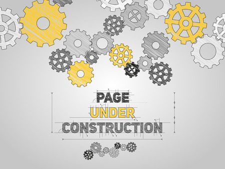 Page Under construction concept, sketched drawing with gear wheels Ilustração