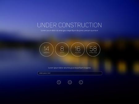 Under construction nigt blurred background vector illustration