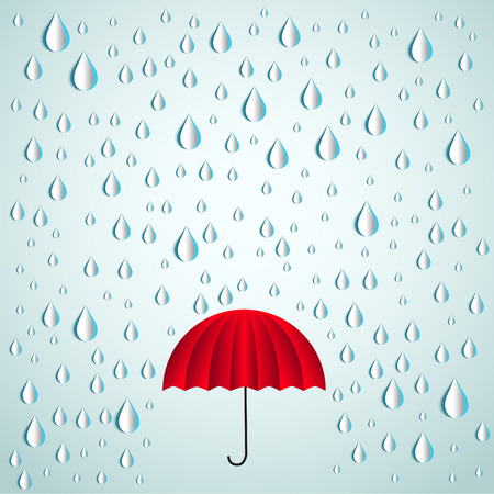 monsoon clouds: Red umbrella and paper rain drops - Vector illustration