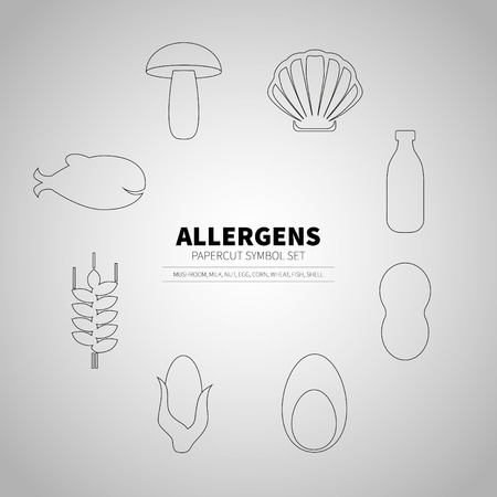 allergens: icons set for allergens products (milk, fish, egg, wheat, nut, lactose, corn, mushroom, shell) Illustration