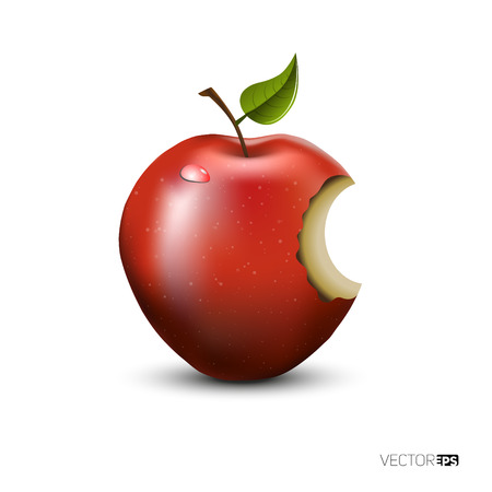 apple bite: Red apple with green leaf with drop and bite, isolated