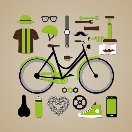 moleskin: Hipster flat design bicycle elements - computer display, phone, bike, sneakers, coffee, cup, mug, hat, helmet, glasses, mustache, bicycle, moleskin, watch, clock, airpump, bottle.