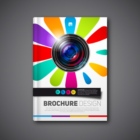 photography book or brochure for cover or portfolio, design template lens in flower