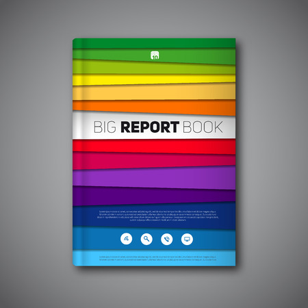 book design: abstract book or brochure, Modern design template with paper stripes, rainbow colors