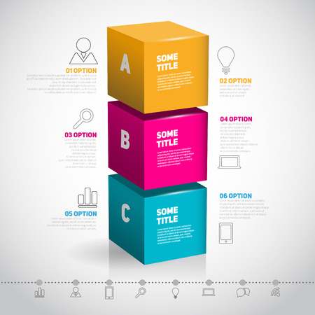 Cube template for infographic or web design