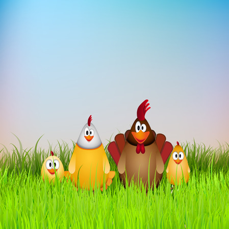 chicken family: Happy Easter, Funny chicken family in grass, card illustration