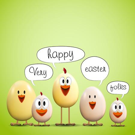 Funny Easter eggs chicks - background illustration - Happy easter card 矢量图像