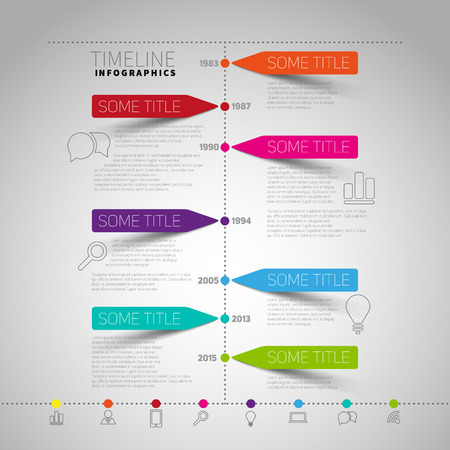 timeline Infographic report template with paper stripes and icons