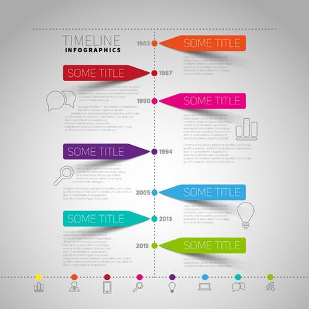 tijdlijn rapport Infographic template met papier strepen en pictogrammen
