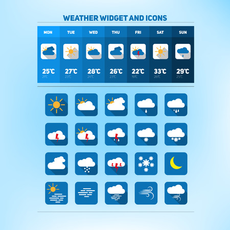 widget: Weather set of icons, widget design Illustration