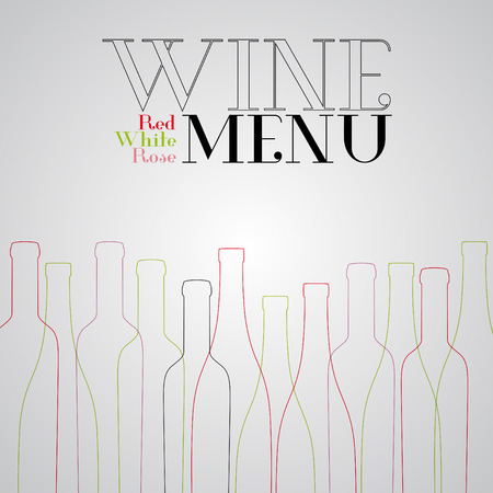 siluette: Wine list design for bar and restaurant. With bottles and text. Place for your text. Bottle siluette Illustration