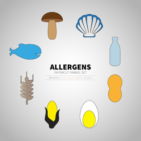 icons set for allergens products (milk, fish, egg, wheat, nut, lactose, corn, mushroom, shell) 矢量图像