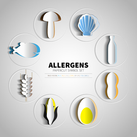 icons set for papercut allergens products (milk, fish, egg,  wheat, nut, lactose, corn, mushroom, shell) Illustration