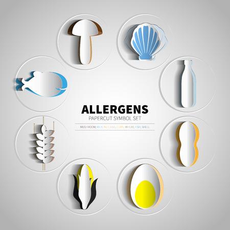 comida: iconos conjunto de productos al�rgenos papercut (leche, pescado, huevo, trigo, nueces, lactosa, ma�z, champi�ones, shell)