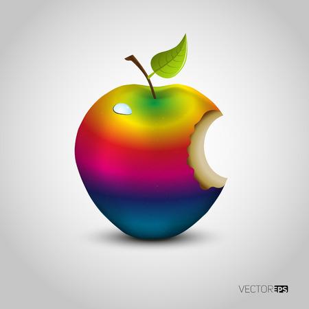 apple bite: Colored bitten apple isolated Illustration