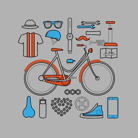 moleskin: Hipster lineart flat design bicycle elements - bike, sneakers, hat, helmet, glasses, mustache, bicycle, moleskin, watch, clock, airpump, bottle.