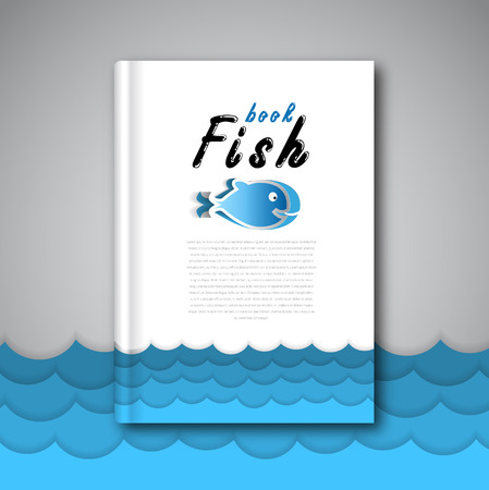menu background: Sea fish papercut brochure template design with blue waves for restaurant.