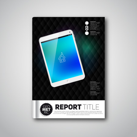 Modern dark abstract brochure or book, design template with smartphone and diamond shapes Vector