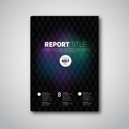 Modern dark abstract brochure or book, flyer design template with diamond shapes