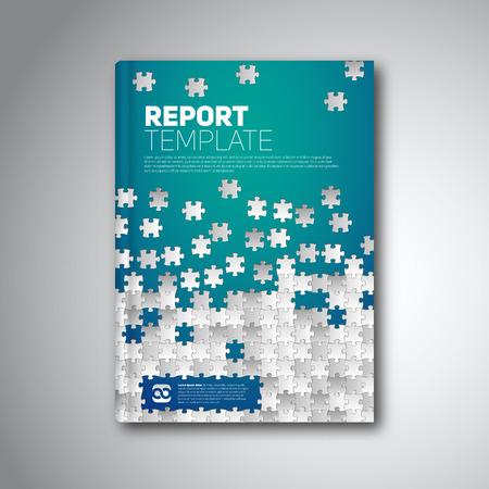 パズルのピースとモダンな抽象のパンフレット、報告書やチラシ デザイン テンプレート 写真素材 - 39132248
