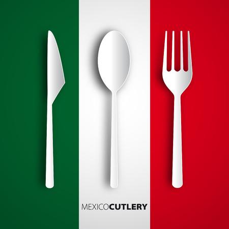 Papercut fork, knife, spoon on mexico flag, restaurant card menu design Vector