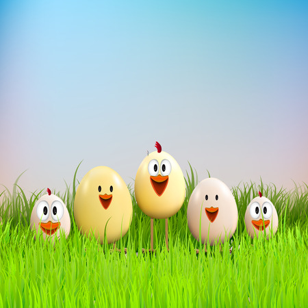 chicken family: Happy Easter, Funny chicken family in grass
