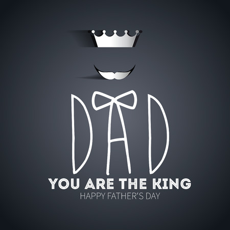 happy fathers day card: Happy fathers day card, hand drawn vintage retro style with crown and tie