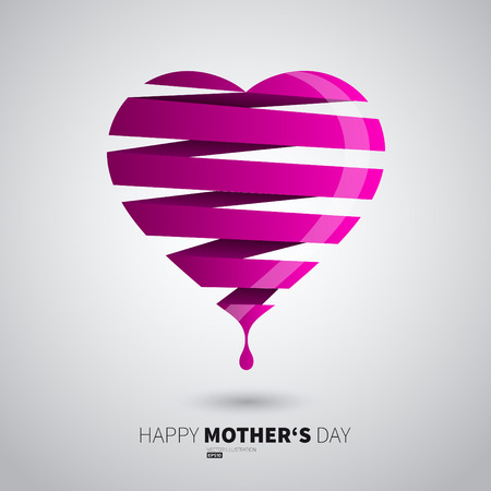 Happy Mother Day Heart stripe design, love . 矢量图像