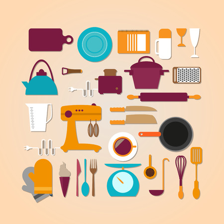 Kitchen tools set in Flat design, workplace illustration.