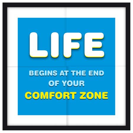 tr�sten: Motivierend Plakat Zitat Das Leben f�ngt am Ende Ihrer Kuschelecke