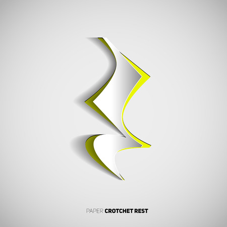 crotchet: Crotchet rest Note symbol in papercut style on white background.