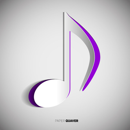 quaver: Quaver Note symbol in papercut style on white background.  Illustration