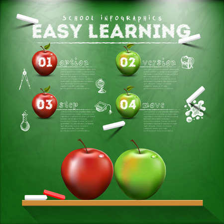 Education learning infographic design with blackboard, chalk, apples and elements