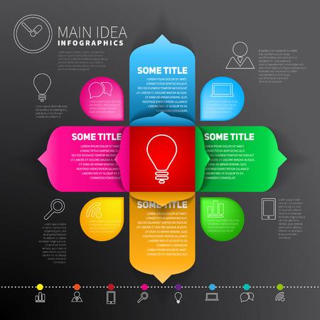 main idea: Modern Design infographics template - Main Idea concept Illustration