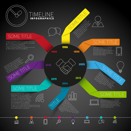 Infographic timeline report template with circle made from colorful papers