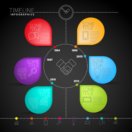 sectors: Abstract infographics elements in a circle with stickers, modern style illustration
