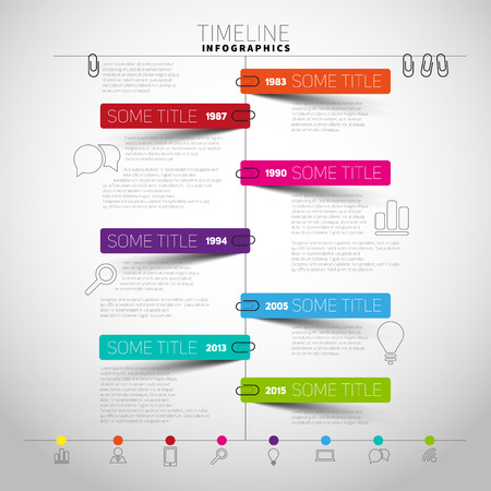 color charts: timeline Infographic report template with paper stripes and icons