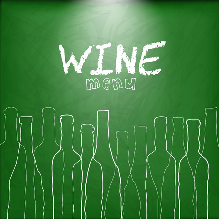 siluette: Wine list design for bar and restaurant on chalkboard background. With bottles and text. Place for your text. bottle siluette Illustration