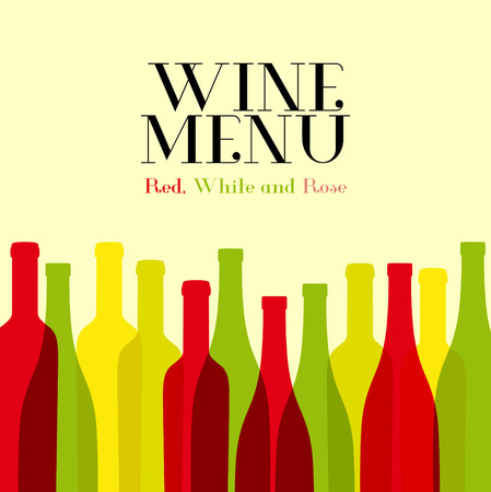 Wine list design for bar and restaurant. With bottles and text. Place for your text. Bottle siluette Illustration