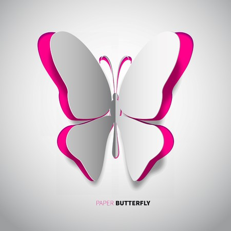 papercut: papercut butterfly, magenta color on orange background Illustration