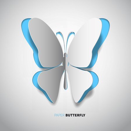 papercut: papercut butterfly, blue or cyan color on white background Illustration
