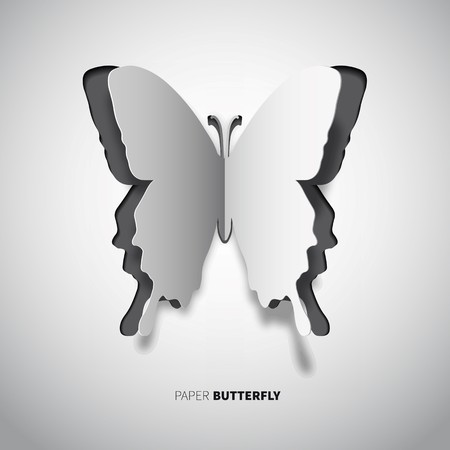 papercut: papercut butterfly, white and black color wings in paper style Illustration