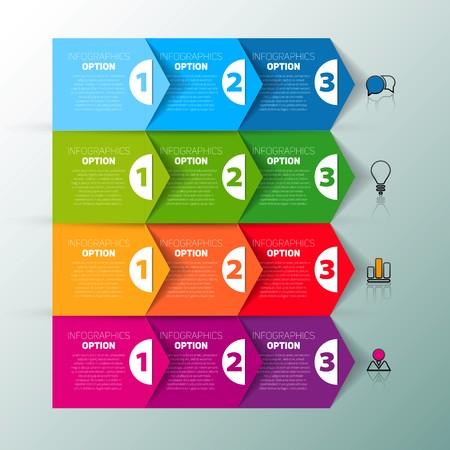 progress steps: One two three, Set of three version, infographics paper progress steps for tutorial