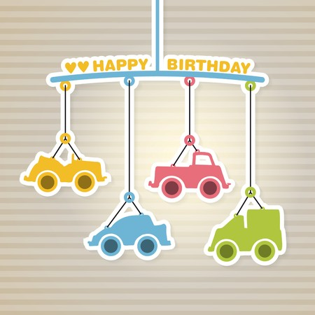 arrival: Happy birthday or baby shower arrival announcement Illustration