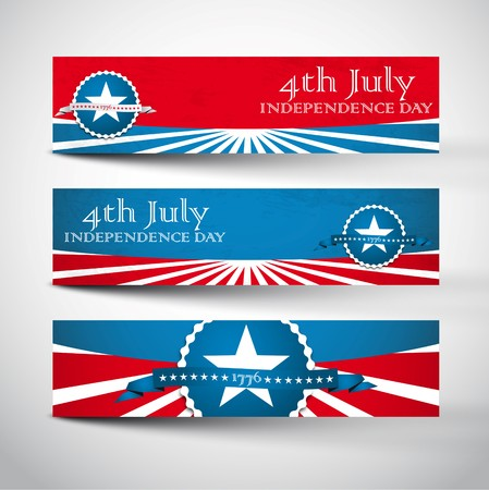 usa flag: Style Banners Set with Independence Day Labels Illustration
