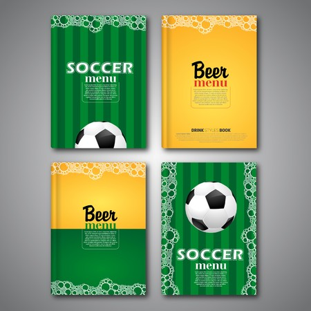 Set of beer cover flyer, card menu design, book style